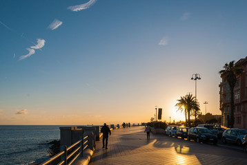 Promenade at the sunset