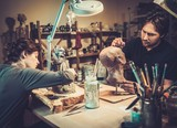 People working in a prosthetic special fx workshop
