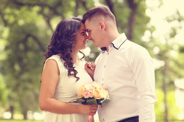 Couple celebraiting their wedding day