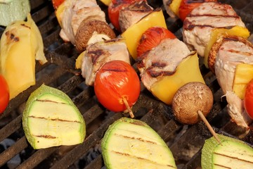 Shish Kabobs with Meat, Peppers, Tomatoes, Mushroms and