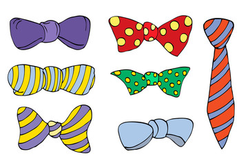Set of colorful bow tie in different colors