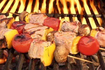 Mixed Meat And Vegetable Kebabs On The Hot BBQ Grill