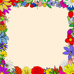 Doodle frame elements with flowers