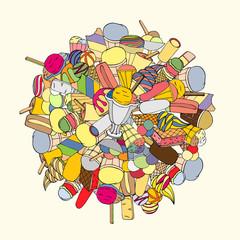 Set of ice cream, hand-drawn, vector Doodle