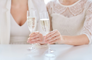 close up of lesbian couple with champagne glasses