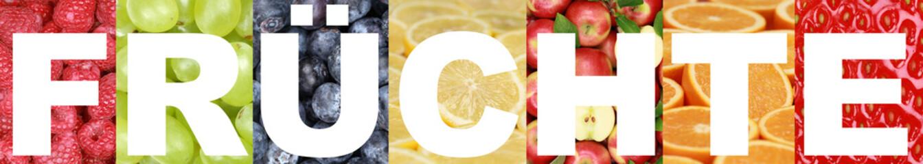 Wort Früchte mit Apfel, Orange, Zitrone, Himbeere und Erdbeere