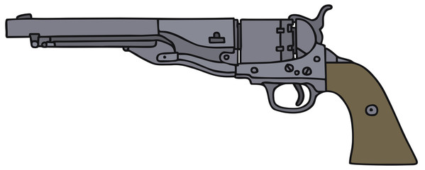 Classic Wild West revolver, vector illustration