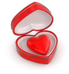 heart in heart box (clipping path included)