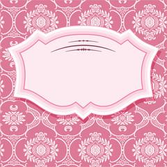 Frame on patterns in pastel pink.