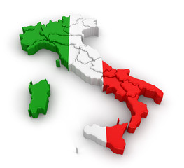 Map of Italy. Image with clipping path.