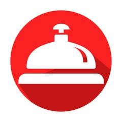 Icono redondo rojo timbre de hotel con sombra