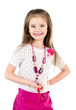Smiling adorable little girl in skirt with beads isolated