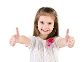 Happy cute little girl with two finger up isolated on a white