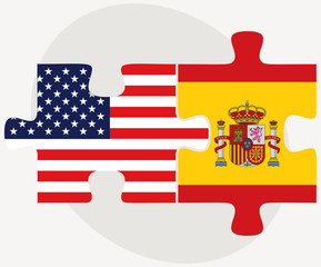 USA and Spain Flags in puzzle