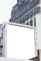 Blank billboard in an urban setting.