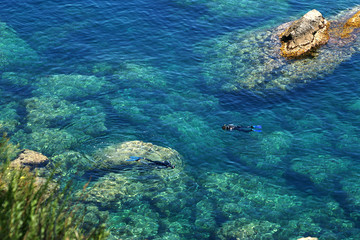 Snorkling in clear water.