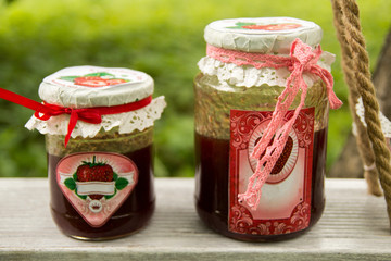 Sweet strawberry jam on a sunny summer day