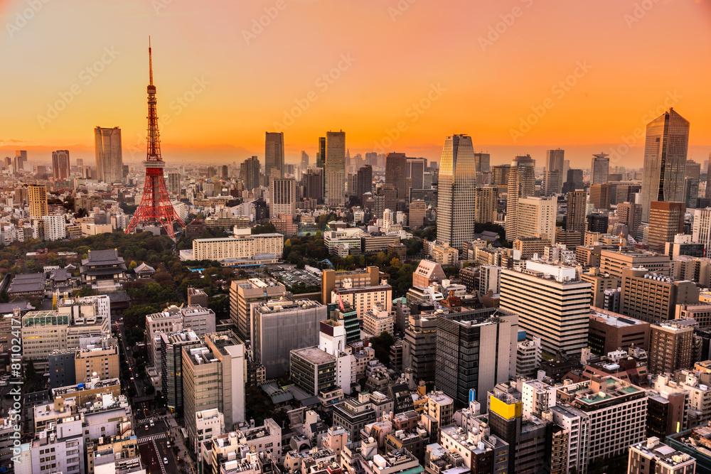 wieża noc tokyo tower - powiększenie