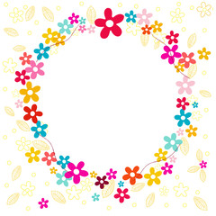 Colorful spring flowers circle vector background