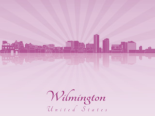 Wilmington skyline in purple radiant orchid