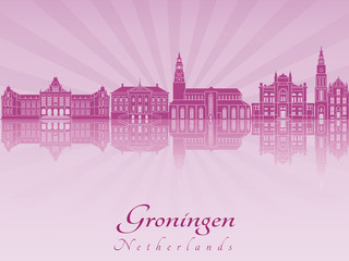 Groningen skyline in purple radiant orchid