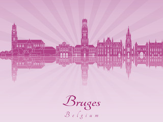 Bruges skyline in purple radiant orchid