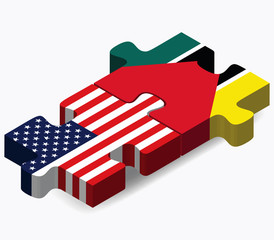 USA and Mozambique Flags in puzzle