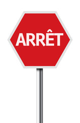 Isolated Stop (Arret in Canada) sign on white