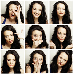woman making diferent expressions