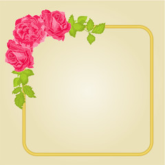 Golden frame with roses vector
