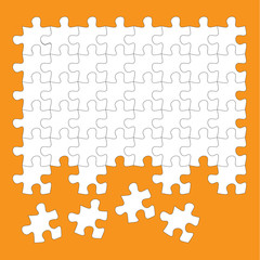 jigsaw puzzle pieces white on orange background