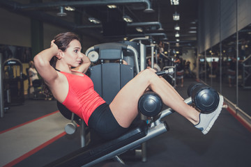 Beautiful fitness woman doing press exercise at sport gym.