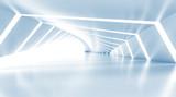 Fototapety Abstract empty illuminated light blue shining corridor, 3d