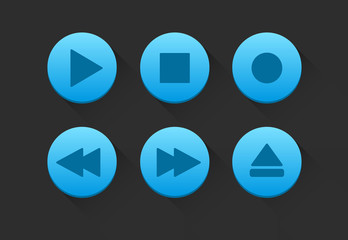 Blue Media Player Buttons