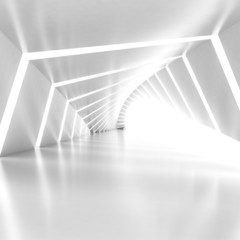 Abstract empty illuminated white shining bent corridor interior