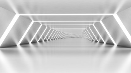 Abstract 3d empty illuminated white shining bent corridor