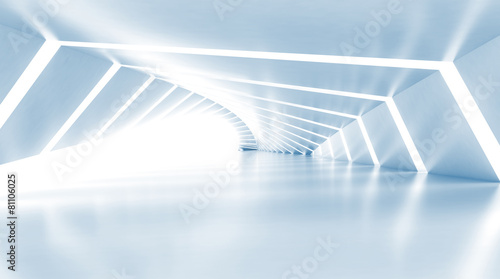 Leinwandbild Motiv Abstract empty illuminated light blue shining corridor, 3d
