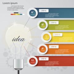 Design light bulb shape template/graphic 5 Steps Chart.