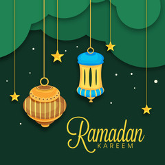 Greeting card with hanging lantern for Ramadan Kareem.
