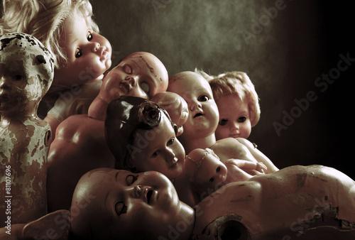 Leinwanddruck Bild Creepy dolls