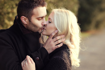 couple in love kissing