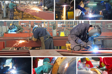 Welders in metal industry, collage