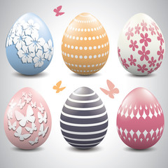 A set of pastel colored Easter eggs