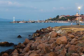evening sea coast summer landscape