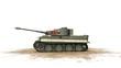 Постер, плакат: Tiger German Battle Tank on white background