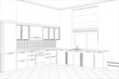 Facade kitchen vector sketch interior. Illustration created of - 81109027
