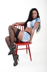 sexy model in Hot Pants und high heels