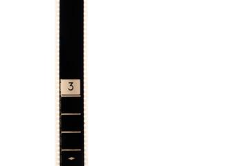Number three countdown movie filmstrip vertical and copyspace