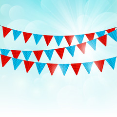 Party flags on sunny background