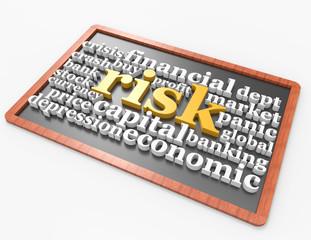 Risk 3d word concept on blackboard concept